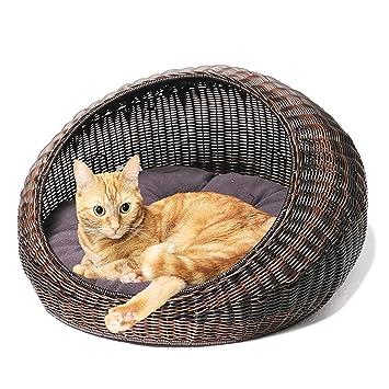 Amazon.com: D+Garden - Cama de mimbre para gatos de interior ...