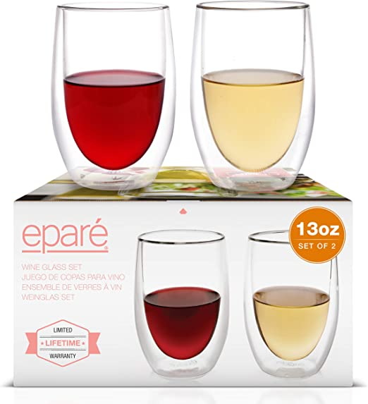 Epare Wine Glasses 13oz Set Of 2 Double Walled Glassware Stemless Drinking Glass Red White Wine Tumblers Amazon Ca Home Kitchen