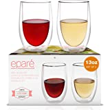 Wine Glasses - Set of 2-13 oz Tumbler Cup - Double Walled Glassware - Stemless Large Drinking Glass - Red & White Wine…