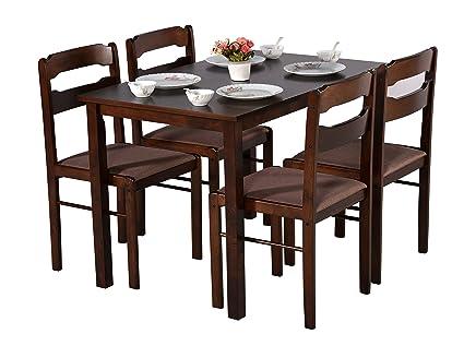 DeckUp Ritz 4 Seater Dining Table Set (Rubberwood, Wenge)