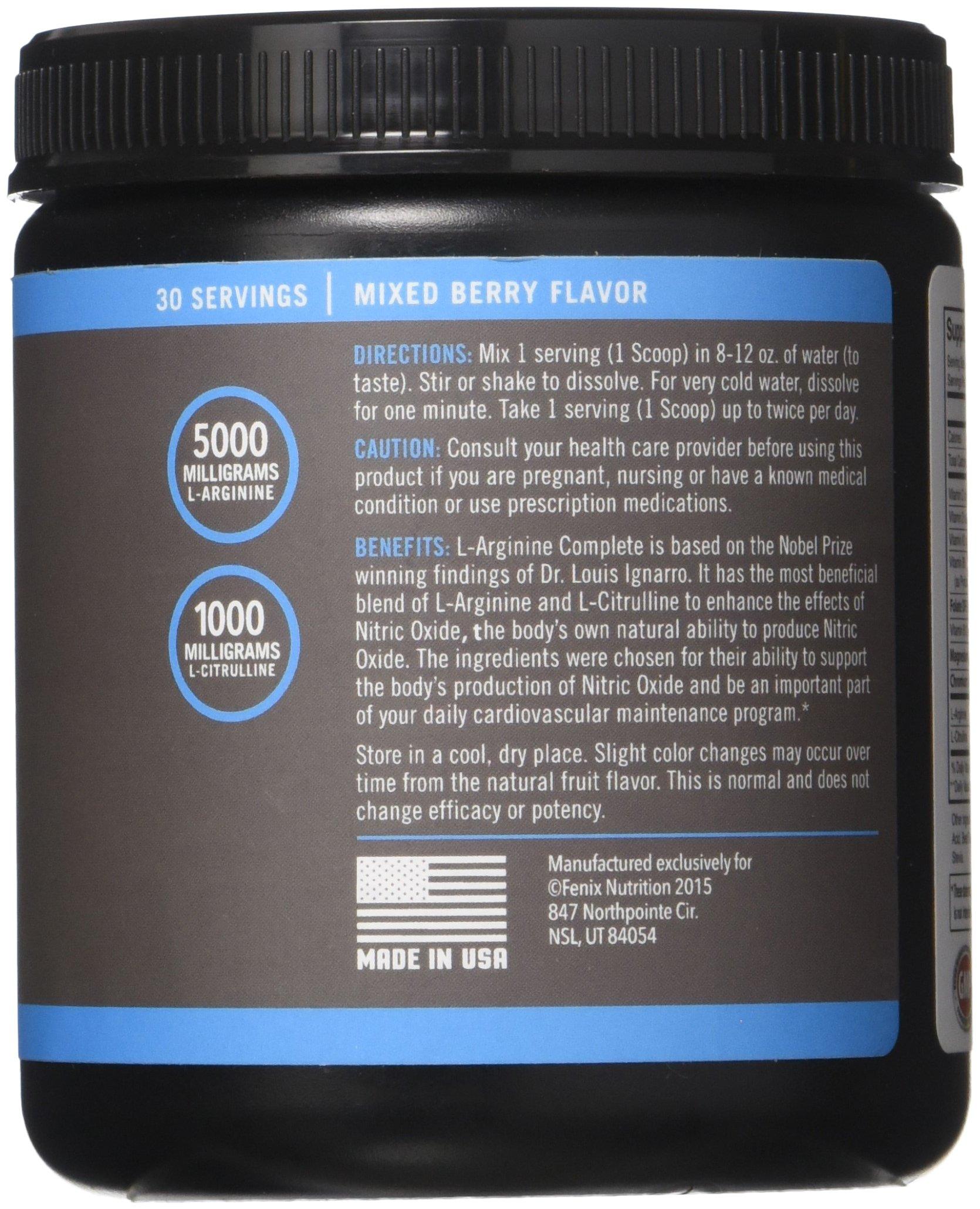 Fenix Nutrition - FNX L-Arginine Complete - Cardio Health Formula - Contains L-Citrulline - Enhance Effects Of Nitric Oxide - Secret Weapon For Libido - Mixed Berry - 3 Jars by Fenix Nutrition (Image #4)