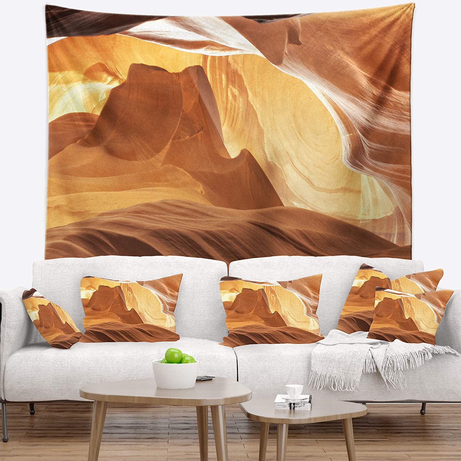 Designart TAP8778-80-68 Antelope Canyon with Light Rays Landscape Photography Blanket D/écor Art for Home and Office Wall Tapestry 80 in x Large x 68 in