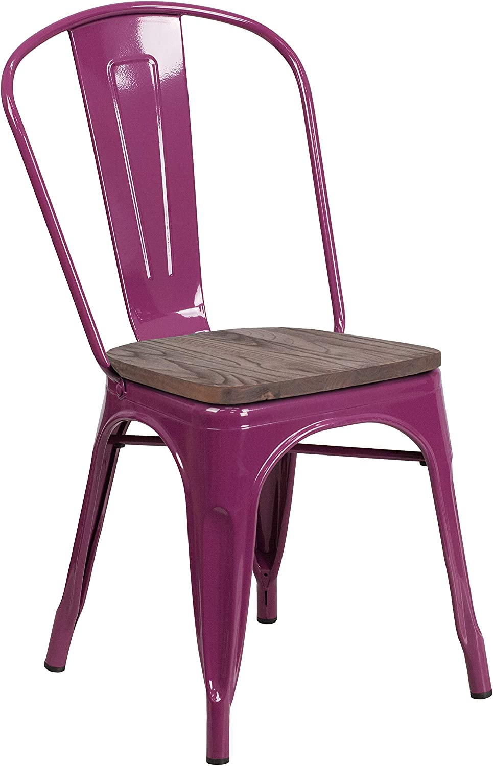 Flash Furniture Purple Metal Stackable Chair with Wood Seat