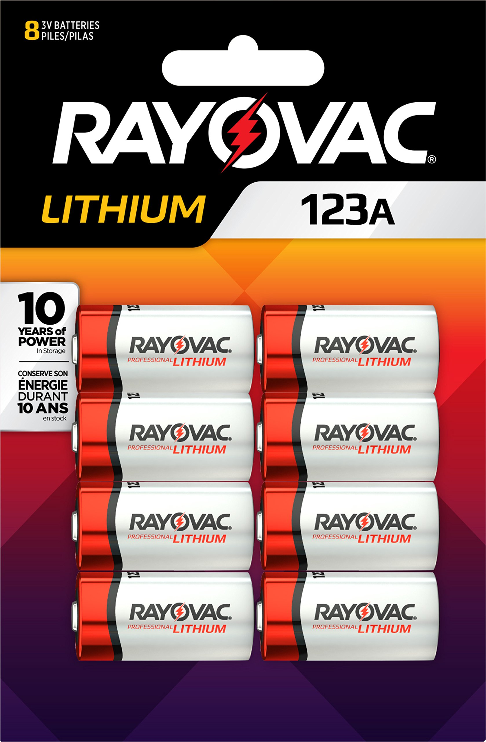Rayovac 123A Lithium Batteries, 3V Lithium Photo Batteries (8 Battery Count) by Rayovac