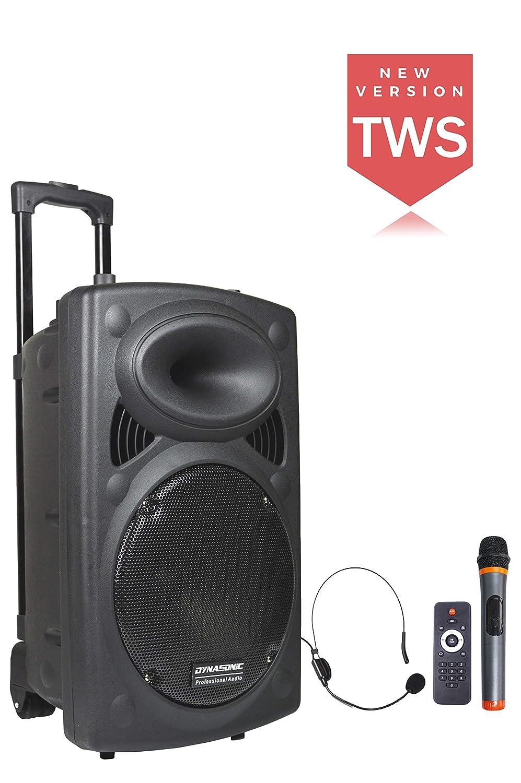 DYNASONIC - Dynapro - Altavoz Inalámbrico Sistema Audio Profesional Megafonia Portatil TWS | Lector USB Bluetooth Radio FM y Micrófonos, Color Negro ...
