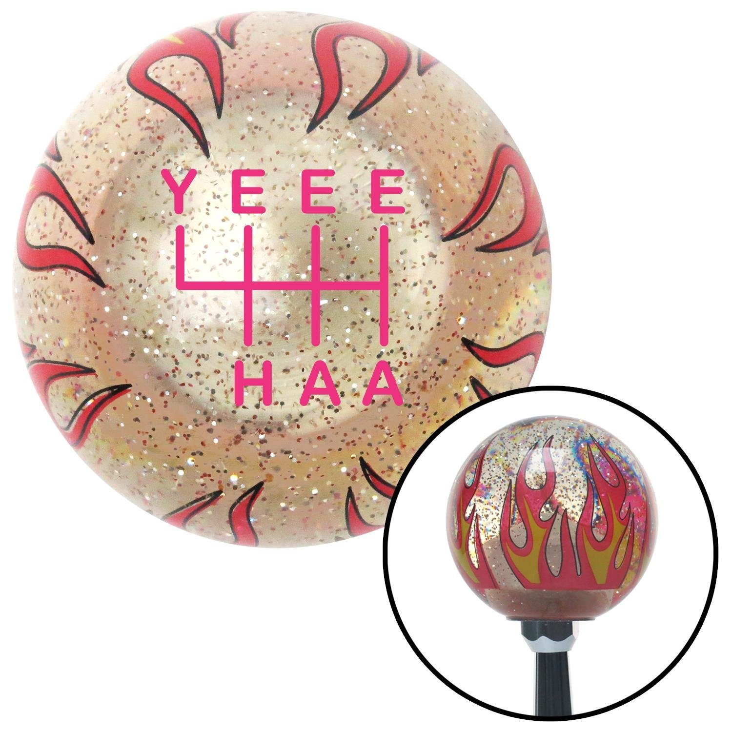 American Shifter 302248 Shift Knob Pink YeeeHaa 6 Speed Clear Flame Metal Flake with M16 x 1.5 Insert