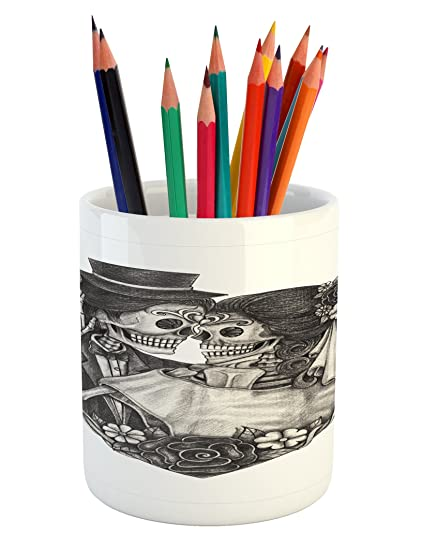 Amazon com: Lunarable Tattoo Pencil Pen Holder, Skull
