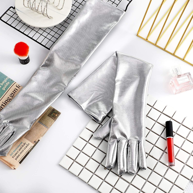 21 Inch Metallic Gloves Long Shiny Opera Gloves Stain Cosplay Gloves Unisex