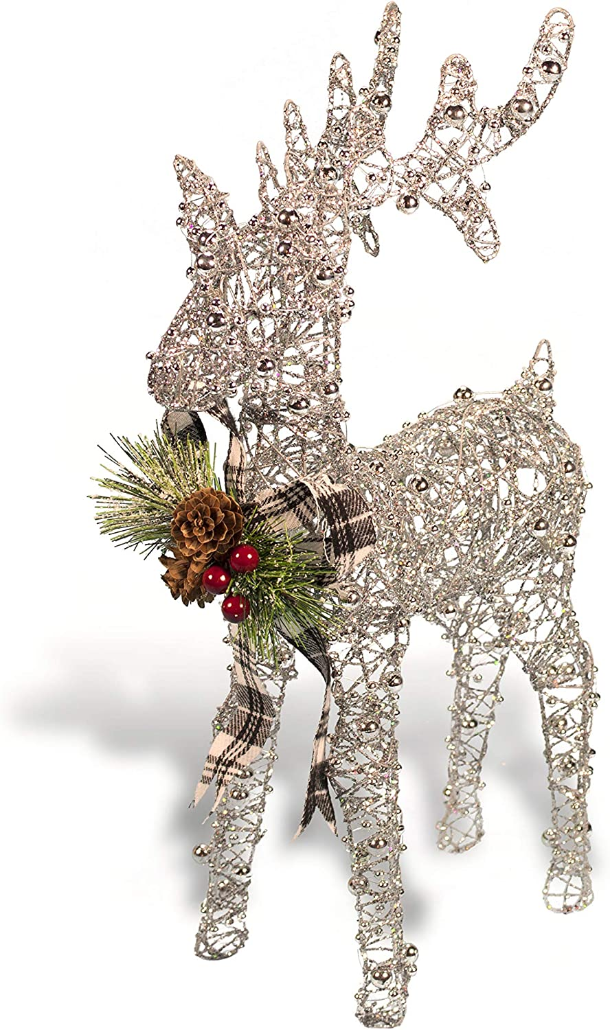 Christmas Reindeer Figurine - Glittery Beaded Metal Wire Reindeer - with Plaid Bow & Holiday Floral Accents (Silver)
