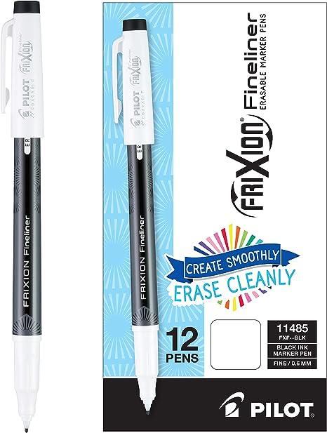 Pilot Frixion Fineliner Erasable Marker Pens Fine Point Black Ink 12 Count 11485