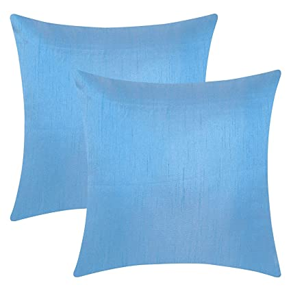 light blue throw bed the white petals light blue throw pillow covers faux silk solid color 14x14 amazoncom