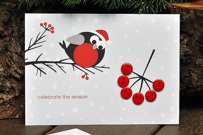 Christmas Greeting Cards Handmade.Amazon Com Bullfinch And Rowan Christmas Card Card With