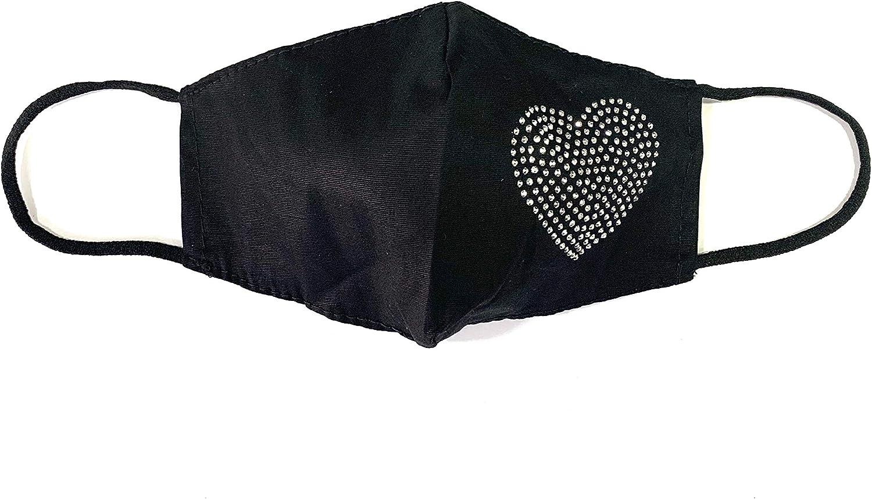 Viannchi- Mascarilla lavable de Mujer, Talla M, color Negro, con aplicación corazón Strass plata, protección de filtración alta, fabricada en España.