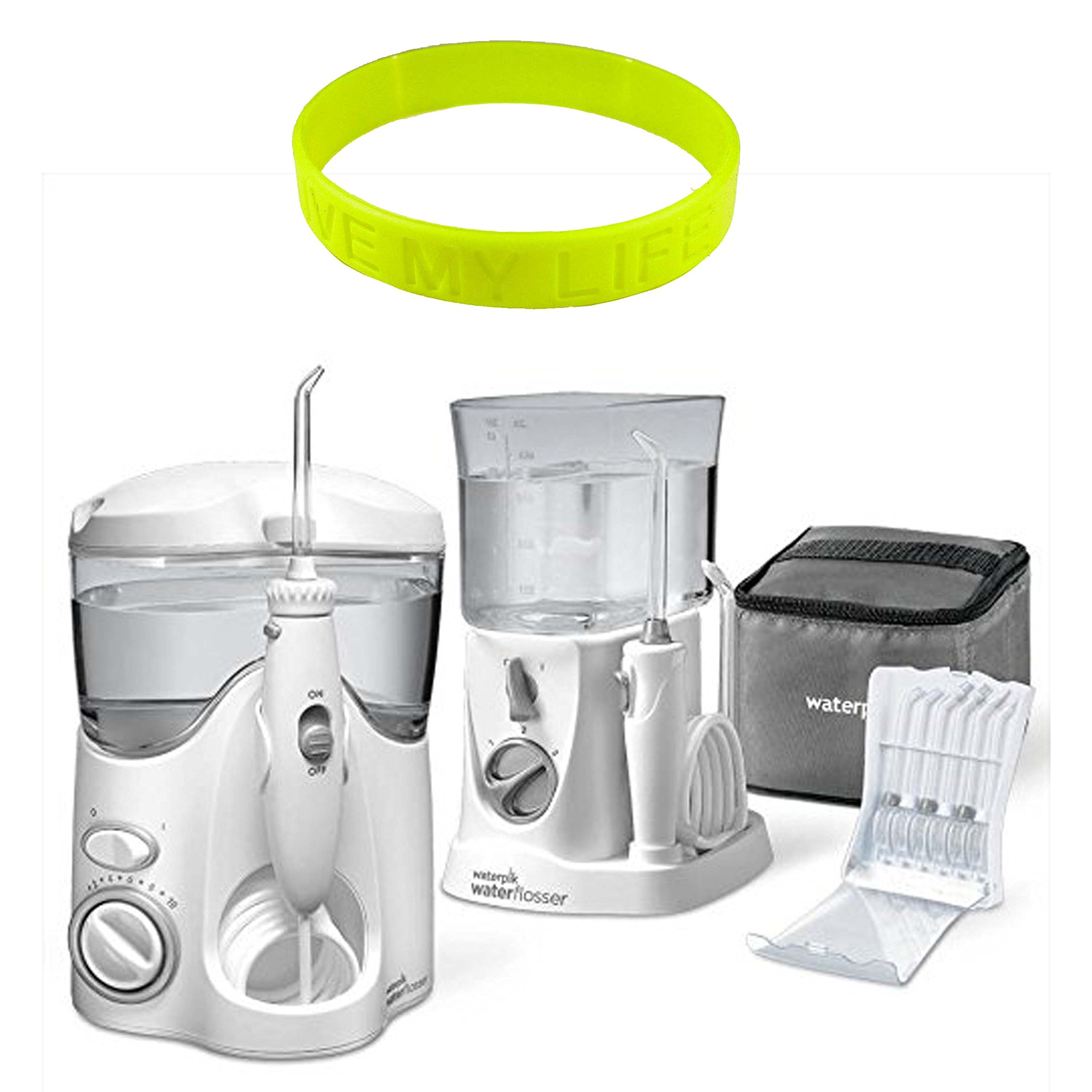 Waterpik Ultra and Nano Water Flosser Combo Pack Set with One Ultra Water Flosser, One Nano Flosser, One Premium Travel Case, One Tip Storage Case, Twelve Accessory Tips + Livemylife Wristband