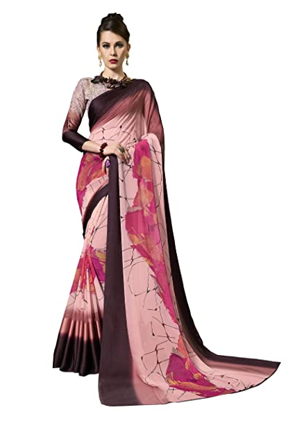 17ec7d950 Gaurangi Creation Women s Printed Weightless Georgette Satin Patta Saree  For Women (leele3105 Pink   Brown)  Amazon.in  Clothing   Accessories