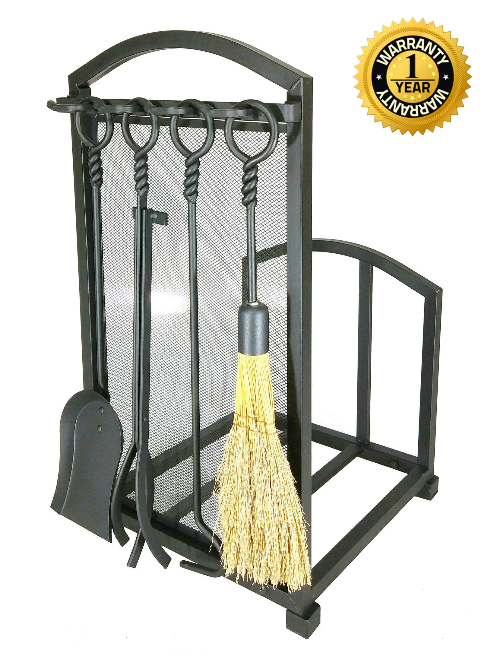 Lizh Metalwork Fireplace Log Holder with Fireplace Tools, Wrought Iron Indoor Stove Accessories Firewood Rack Holder Lumber Storage Stacking Log Holder Log Bin with Tongs Shovel Poker and Brush by Lizh Metalwork