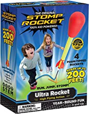 Stomp Rocket Ultra Rocket, 4 Rockets - Outdoor Rocket Toy Gift for Boys and Girls - Comes with Toy Rocket Launcher - Ages 5