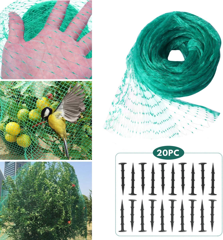 Hywean Red para Pájaros, 4m x 6m Red para Estanque Multiusos Malla de Protección de PE para Frutas, Plantas, Verduras, Jardín, 20 Clavos de fijación de plástico (Verde, 1,5x1,5 cm Agujeros)