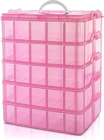 BELLE VOUS Caja Almacenamiento Plástico Rosado 5 Niveles - Ranuras de Compartimentos Ajustables - Caja Organizadora Plástico Transparente - Máximo 50 Compartimentos - Guardar Juguetes Joyas, Cuentas: Amazon.es: Hogar