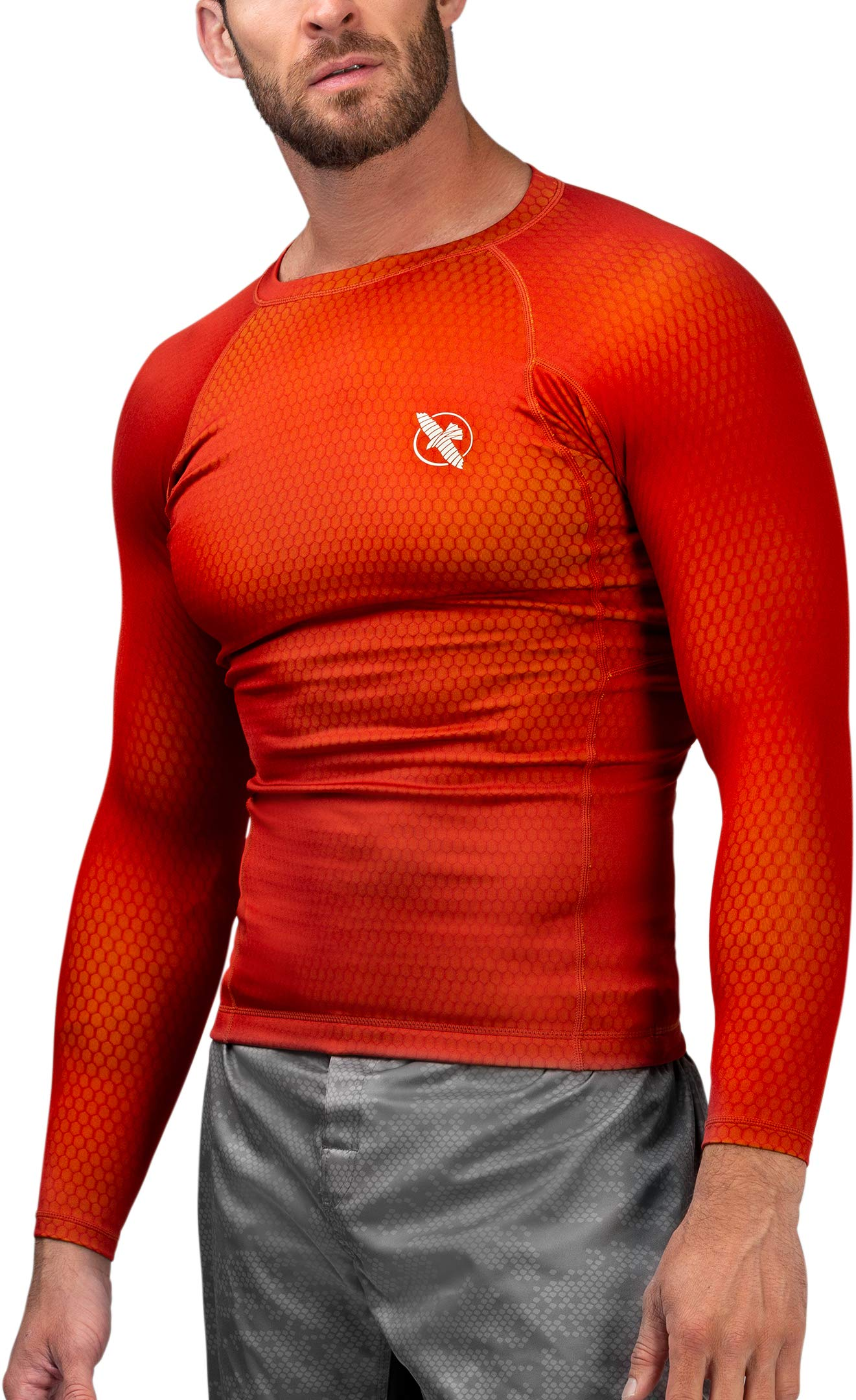 Hayabusa | Men's Fusion Long Sleeve BJJ Rash Guard | Red/Yellow | L by Hayabusa