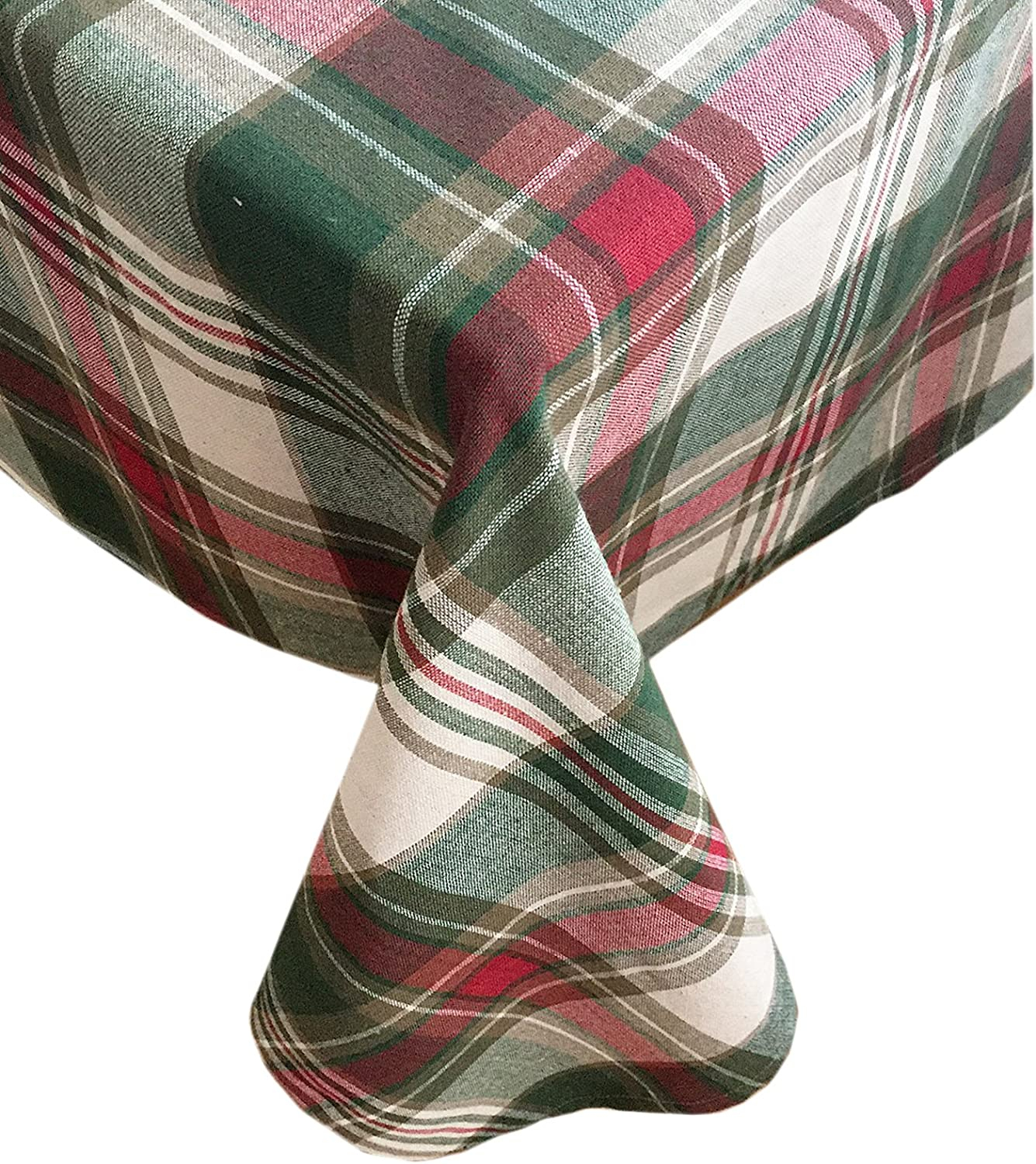 """Trends Collection Christmas Cottage Plaid Cotton Weave Holiday Tablecloth, 60 """" x 102"""" Oblong/Rectangle"""