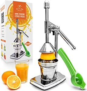 Zulay Professional Citrus Juice Press - Small Orange Squeezer and Manual Juice Press with Bonus Metal Lime Squeezer, Premium Heavy Duty Mini Orange Juice Press, Lemon Squeezer & Lime Squeezer Stand