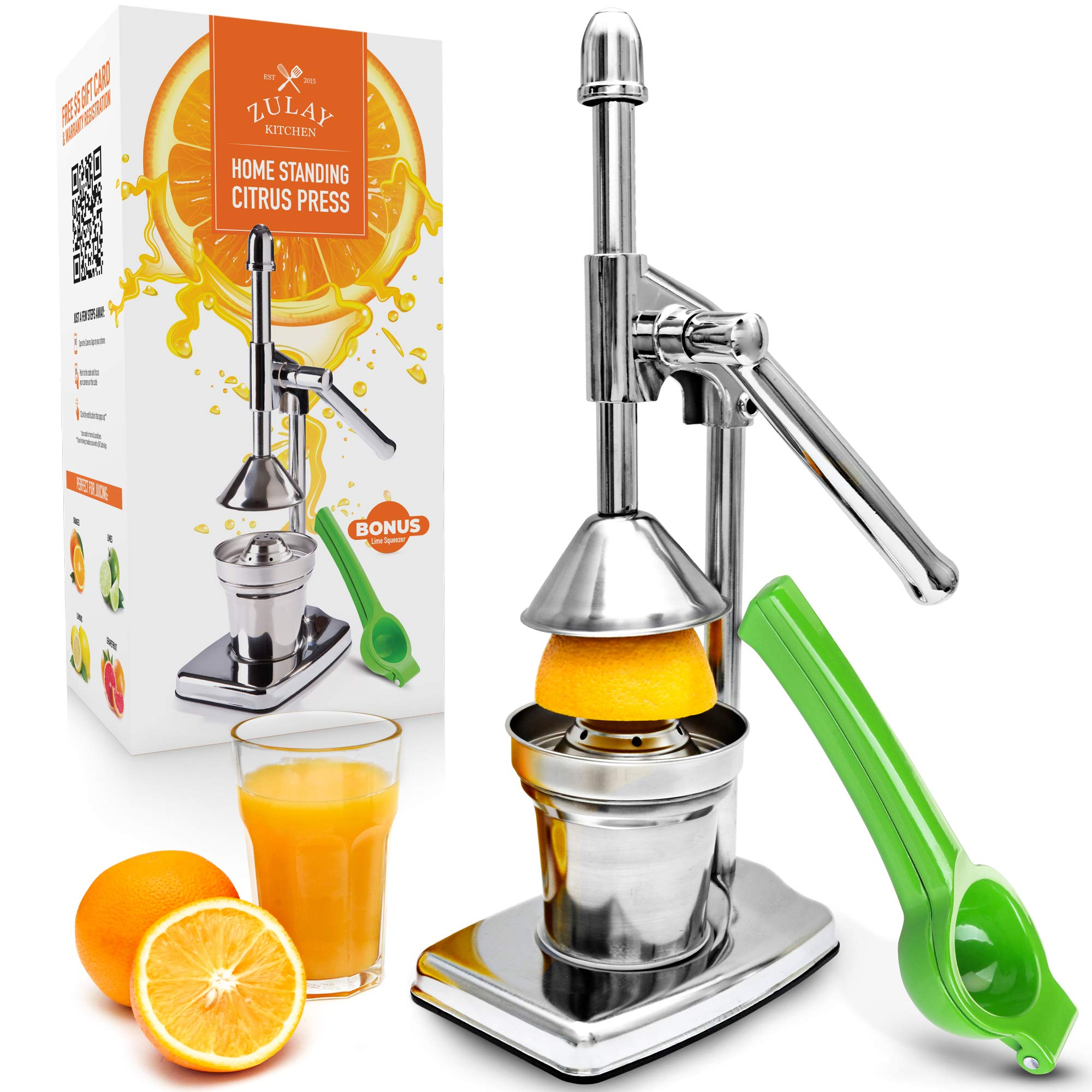 Zulay Professional Citrus Juice Press - Small Manual Juice Press and Orange Squeezer with Bonus Metal Lime Squeezer, Premium Heavy Duty Mini Orange Juice Press, Lemon Squeezer & Lime Squeezer Stand by Zulay Kitchen