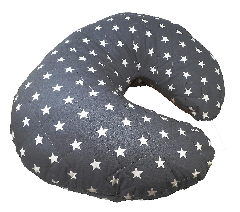 Y funda de almohada/cojín suave cojín de lactancia faja de maternidad - de color marrón oscuro color gris con tapa de cierre blanco diseño de estrellas ...