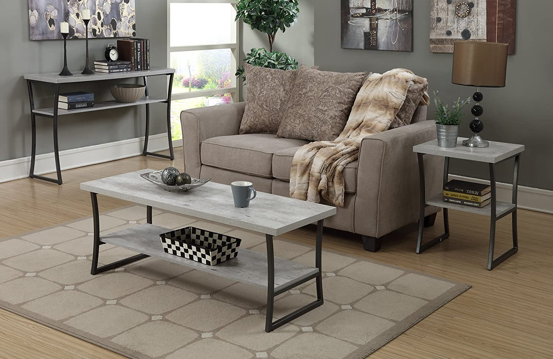 Convenience Concepts X-Calibur Coffee Table, Faux Birch / Slate Gray Frame