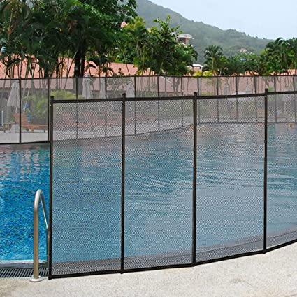 Giantex 4\'x48\' In-Ground Swimming Pool Fence Child Barrier Pool Safety Mesh  Fence Section, Black 4 Set