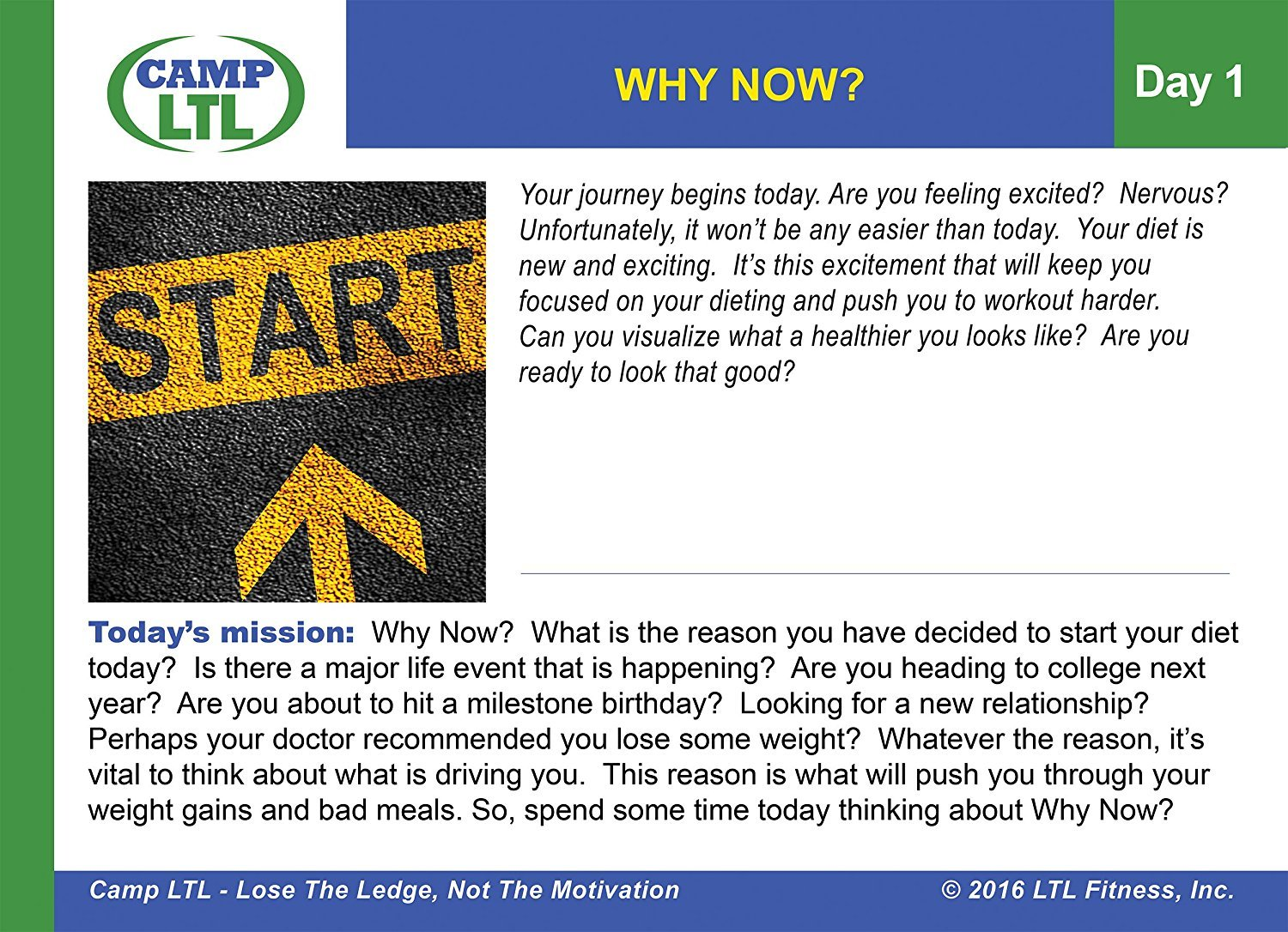 Month 1 LTL Fitness Inc. Camp LTL Daily Weight Loss Motivation Cards