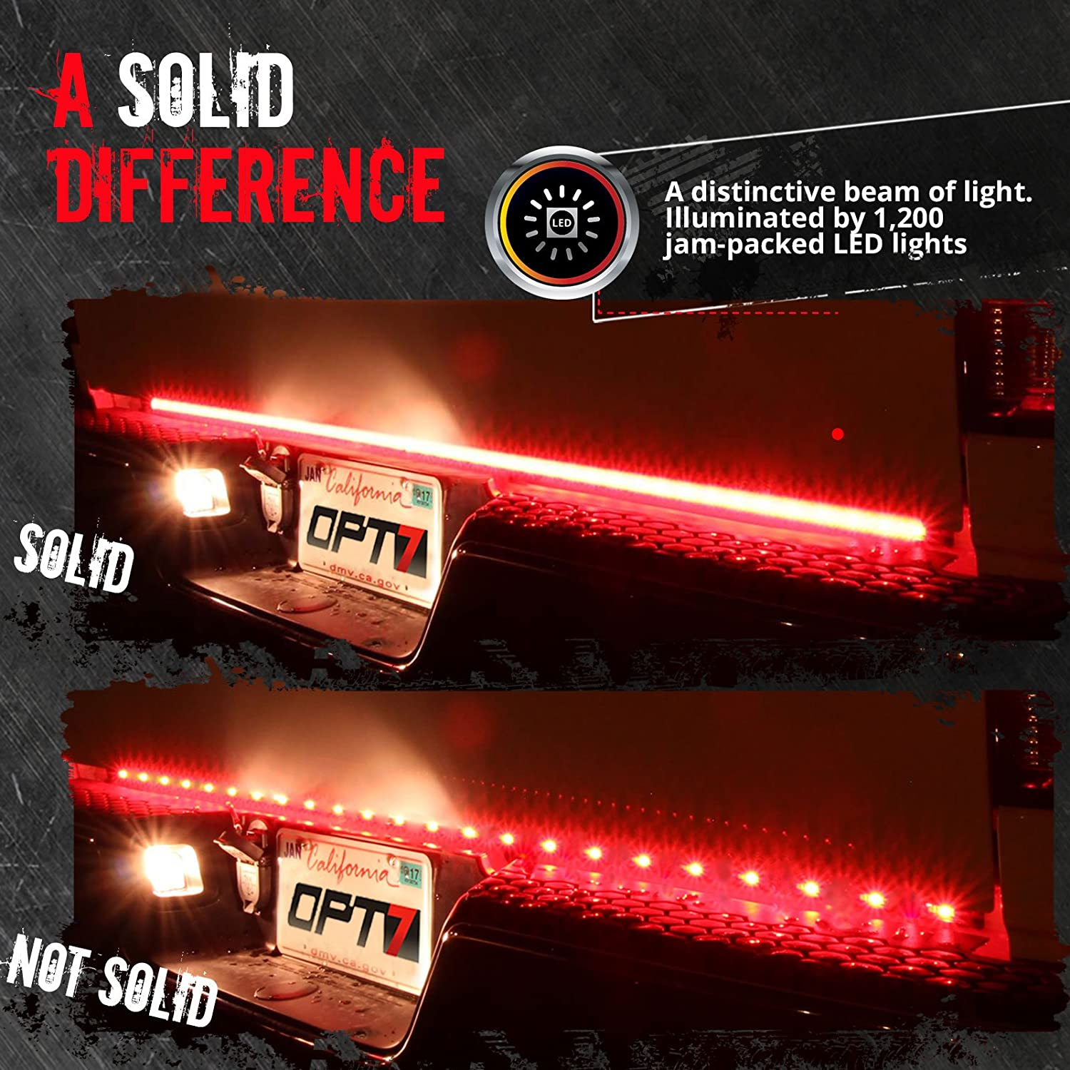 Opt7 60 Redline Triple Led Tailgate Light Bar W Make This Temperature Indicator Circuit With Sequential Display Amber Turn Signal 1200 Solid Beam Weatherproof No Drill Install Full