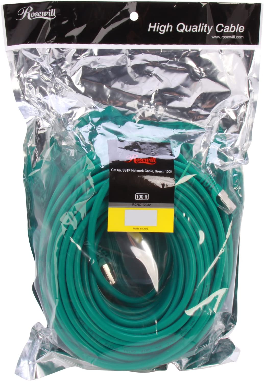 Black Rosewill 3-Feet Shielded Cat 6A Network Ethernet Cables RCNC-12002