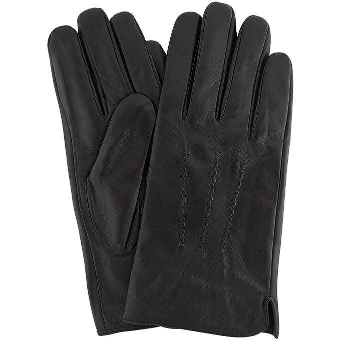 Para hombre Premium piel suave guantes con 3 de punto de punto y forro polar interior en color marrón o negro: Amazon.es: Ropa y accesorios