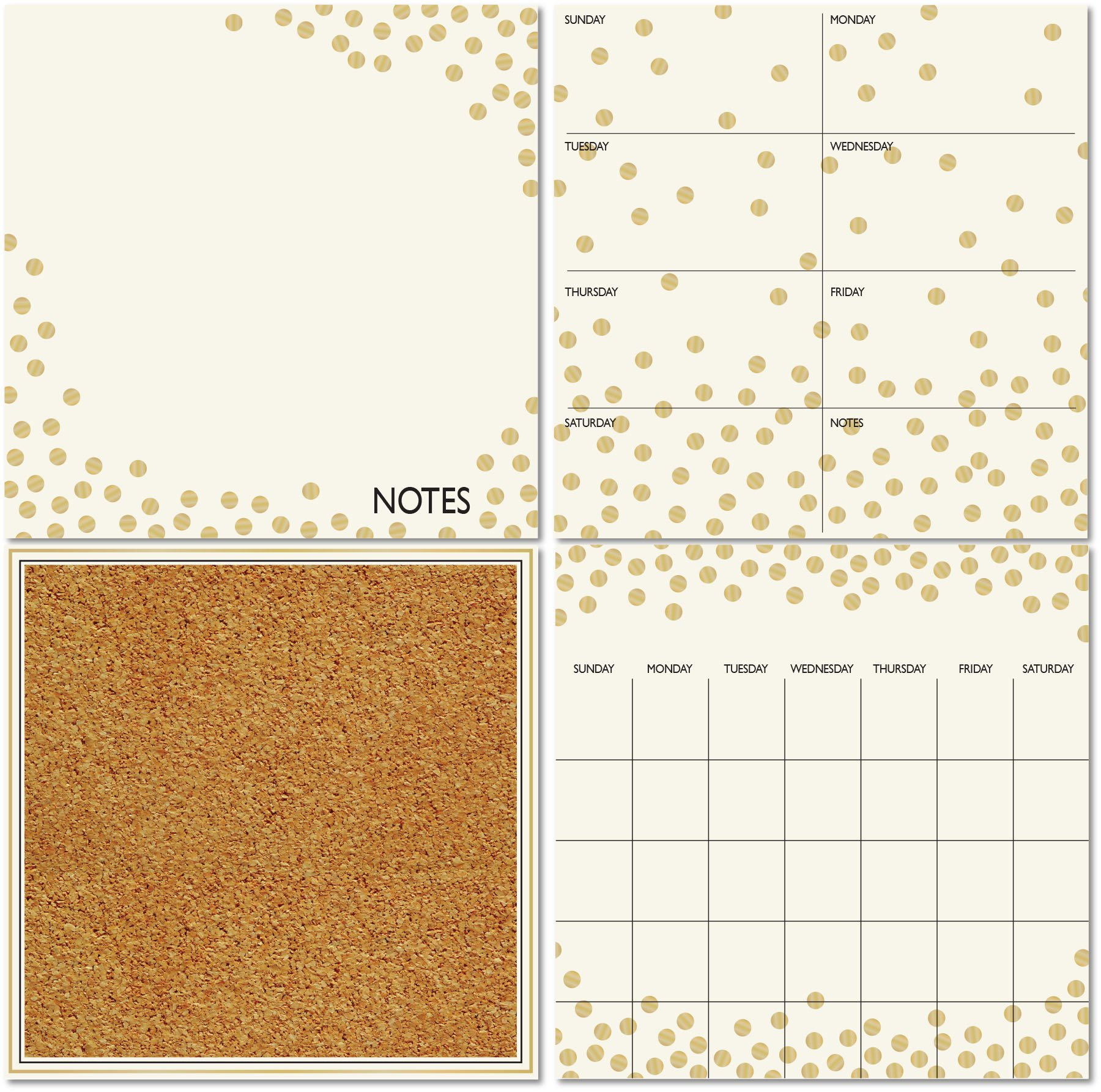 Wall Pops WPE1503 Gold Confetti Organization Kit by Wall Pops