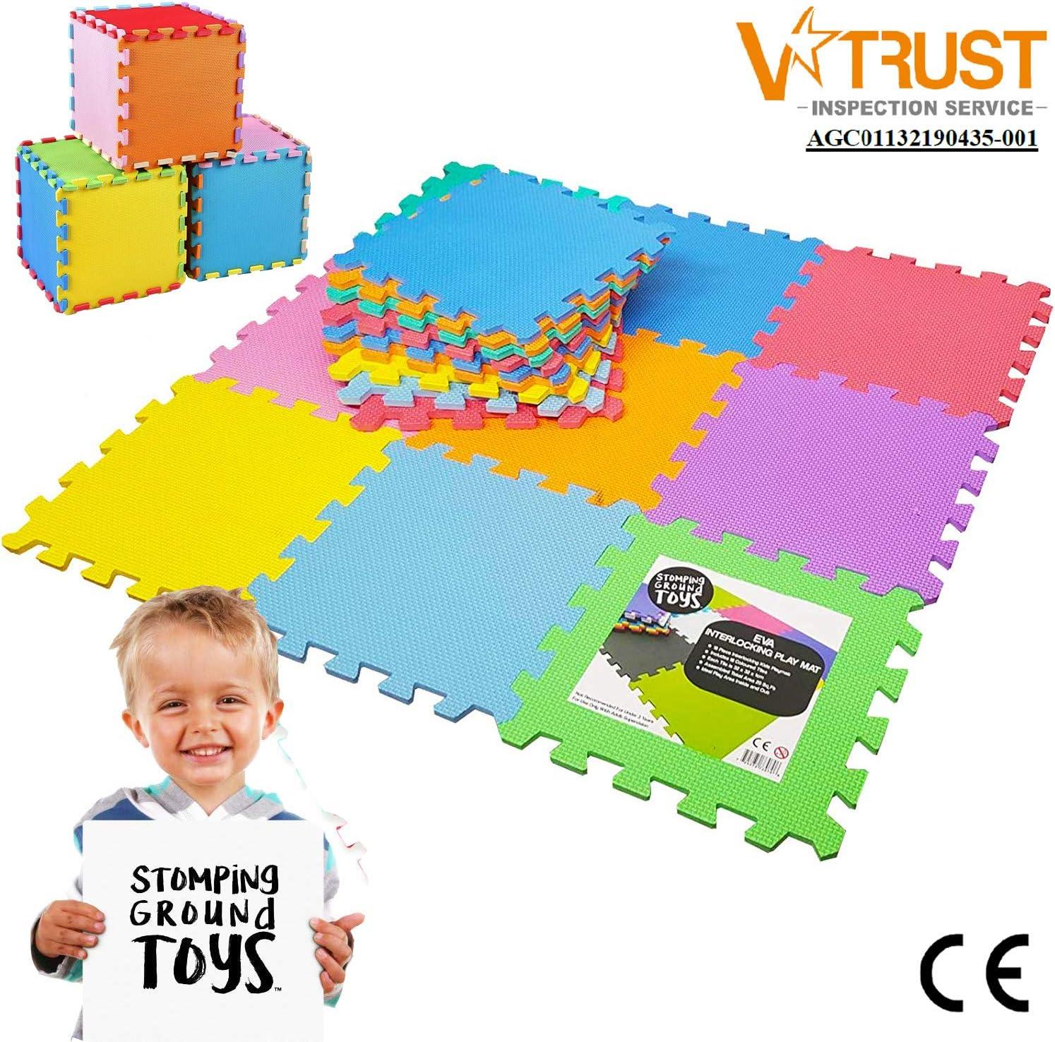 Stomping Ground Toys - 20 Alfombras Puzzle EVA Coloridas Alfombras de Foam Encajables para Actividades Infantiles en el Piso