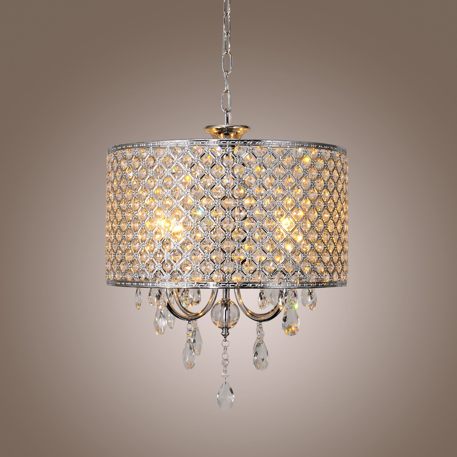 Drum Chandelier Crystal Modern 4 Lights 110 120V Amazon