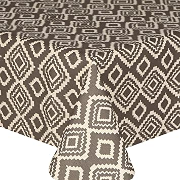 Acrylic Coated Tablecloth Geo Grey 2 Metres (200cm X 140cm), Linen Look  Funky