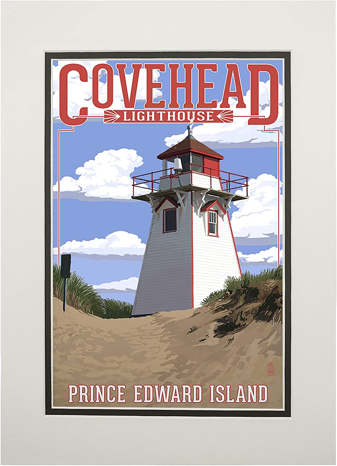 Prince Edward Island, Canada - Covehead Lighthouse (11x14 Double-Matted Art Print, Wall Decor Ready to Frame)