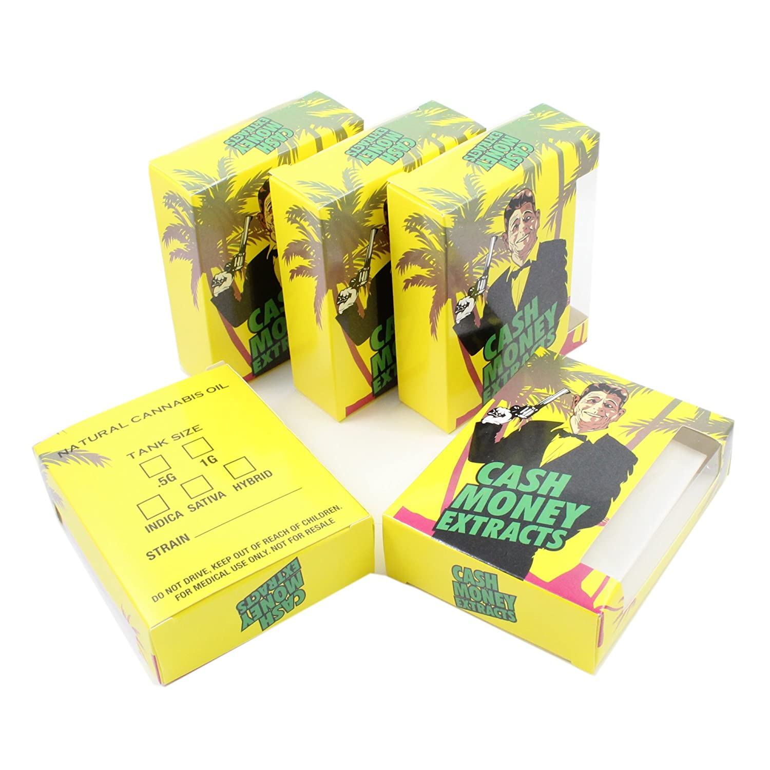 25 Cash Money Extracts Empty Dispensary Supply Display Boxes by Shatter Labels VB-049