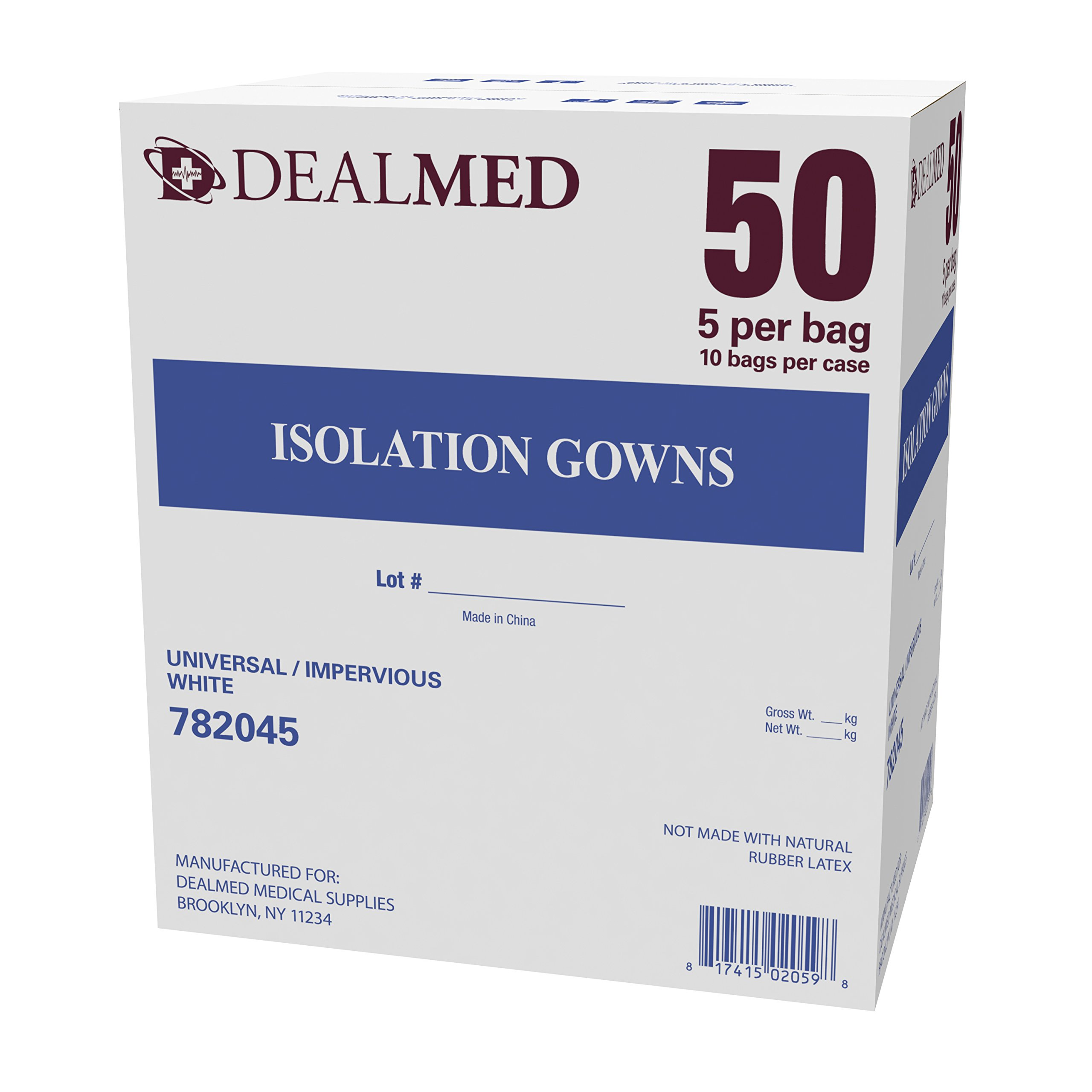 Isolation Gowns, White, Universal Size, Lightweight, Multi-Ply Fluid Resistant, Latex Free - Pack of 50 - Dealmed Brand
