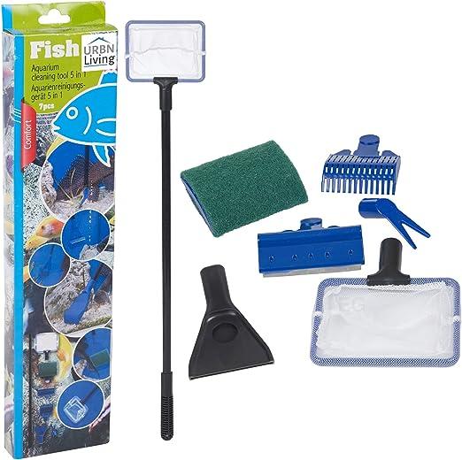Kit de limpieza de acuario 5 en 1 para acuario, para pecera, rastrillo de grava, rascador de algas, tenedor, juego de herramientas de esponja: Amazon.es: Productos para mascotas