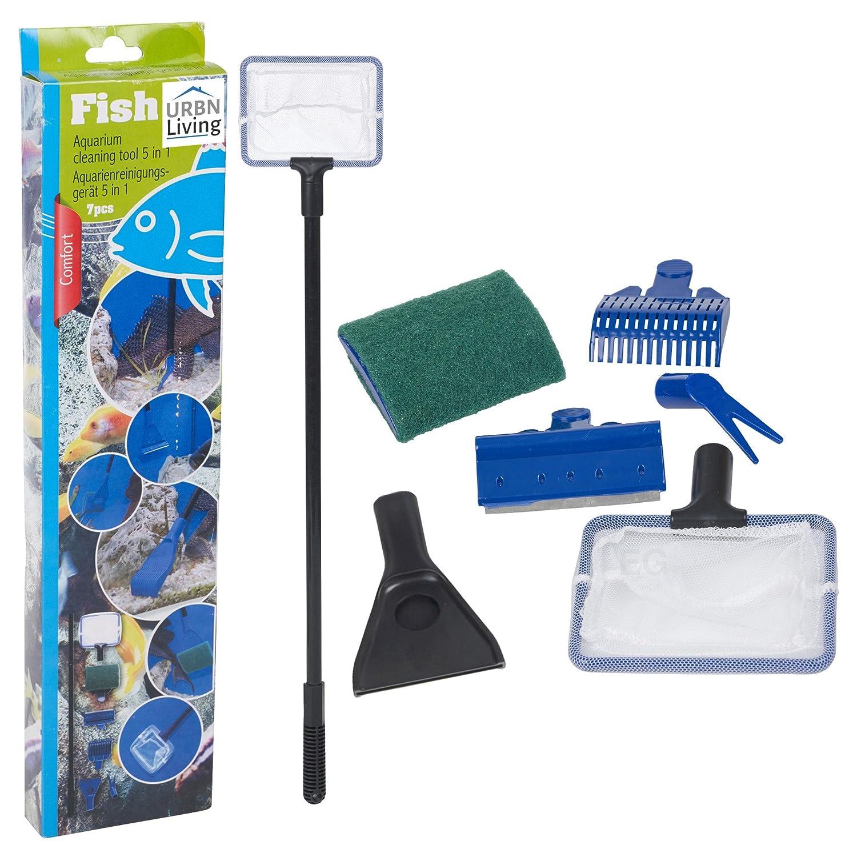Kit de limpieza de acuario 5 en 1 para acuario, para pecera, rastrillo de grava, rascador de algas, tenedor, juego de herramientas de esponja EGT