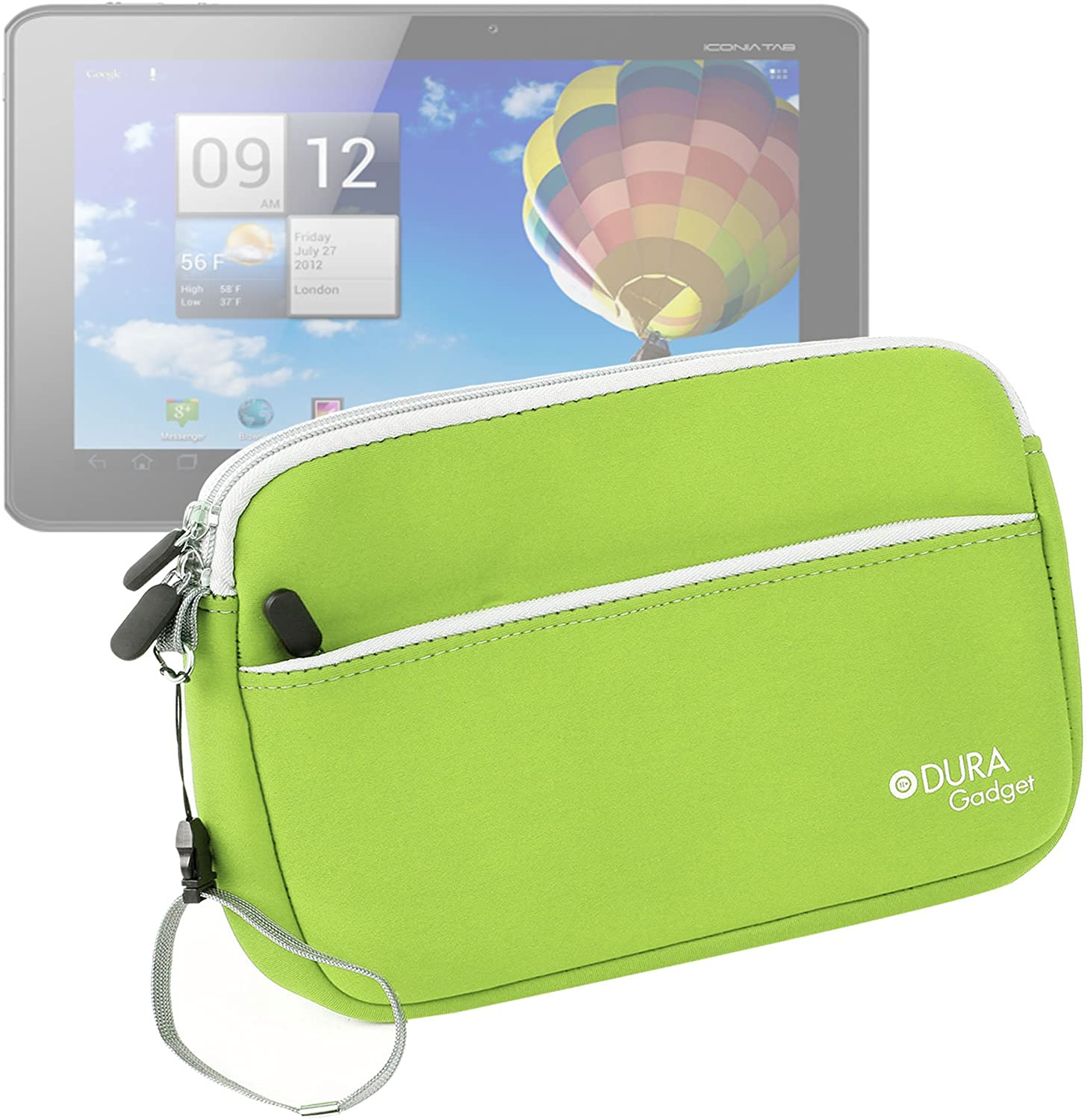 "DURAGADGET ""Travel Lime Green Water Resistant Protective Neoprene Case for Acer Iconia A3-A10 Tablette Tactile 10,1"""