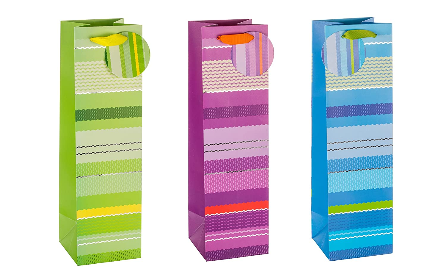 TSI 85287 gift bags with hot stamping Wave Style, Pack of 12, size: bottle large (14 x 4,5 x 3 inch)