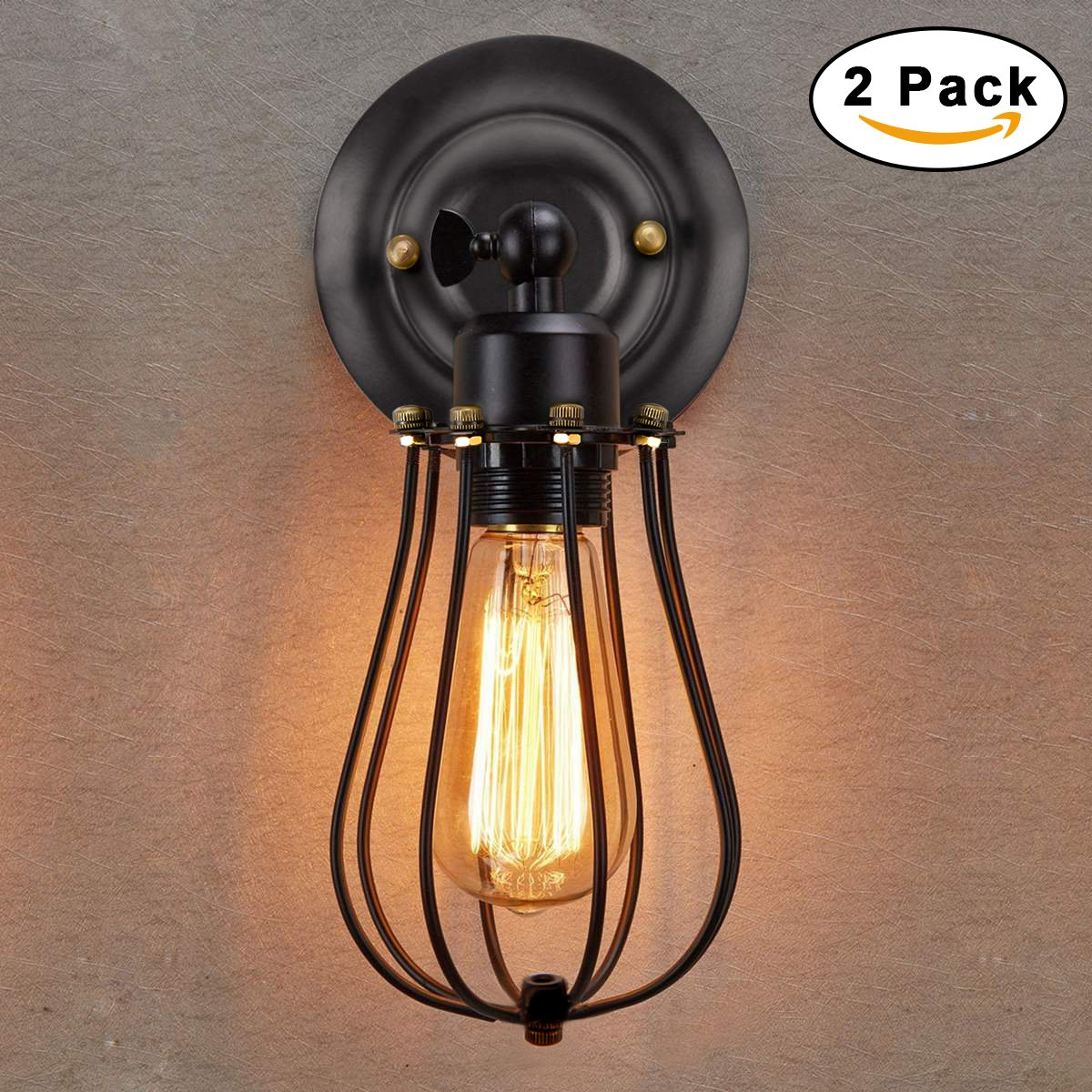 Wire Cage Wall Sconce Kingso 2 Pack Dimmable Metal Industrial Oil No Wiring Sconces Rubbed Bronze Light Shade Vintage Style Edison Mini Antique Fixture For Headboard