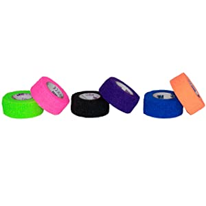 "3M Coban Self- Adherent Wrap, 1""x 5yds, Five rolls of each: bright green, bright orange, bright pink, purple, blue, black"