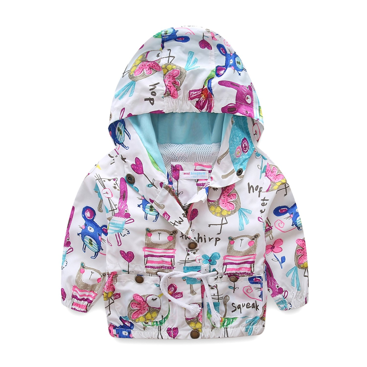 UWESPRING Girls Cartoon Graffiti Coats Birds Pattern Kids Bomber Jackets Made in China