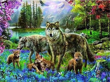 UK Wolves Parent /& Baby 5D Diamond Painting Embroidery Cross Stitch Kit Decor