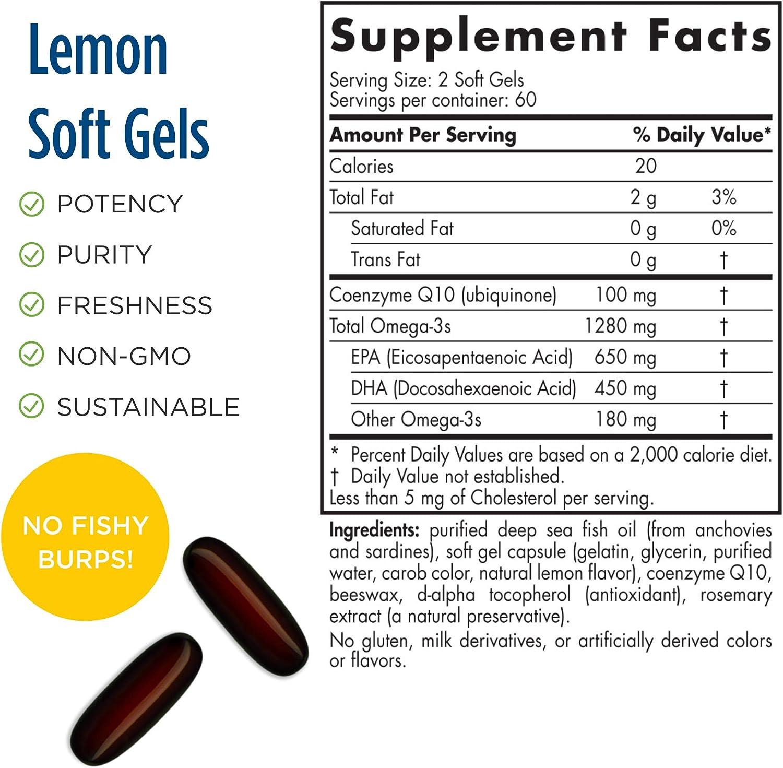 Nordic Naturals ProOmega CoQ10, Lemon - 120 Soft Gels - 1280 mg Omega-3 + 100 mg CoQ10 - Heart, Brain & Immune Health, Cellular Energy Production - Non-GMO - 60 Servings
